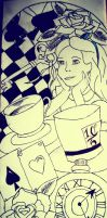 Alice In Wonderland Tattoo Outline Sketch by Abbie-ox