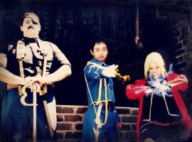 Fuhrer Bradley, Roy Mustang and Edward Elric by HD-Creations