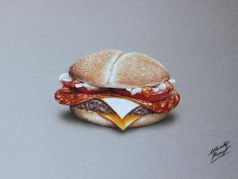 Burger DRAWING by Marcello Barenghi by marcellobarenghi