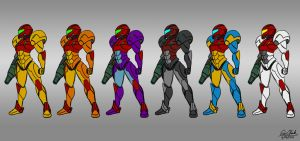 Samus Suits Sketch by Sawuinhaff