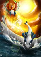Ho-oh and Lugia by Nahlarys