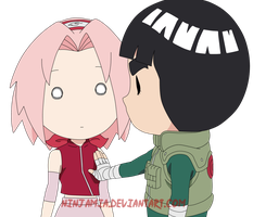 Sakura and Rock Lee Chibi by NinjaMia