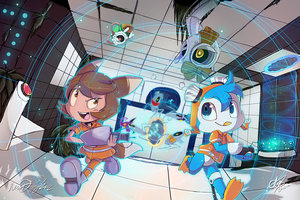 Portal Fun with Foxgirl and Popple by chicinlicin