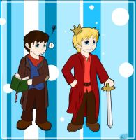 Merlin and Arthur From Card by Ouran-Shadow-Queen