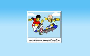 Homer Simpson vs. Tony Hawk by BadSoldier