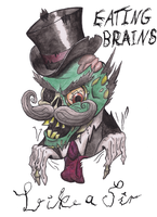 'Like a Sir' Zombie (t-shirt design) by HarWalt