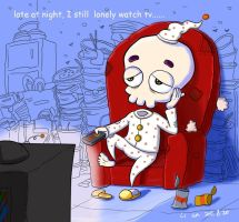 Late at night,I still lonely watch tv by ouyanglian