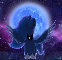 Luna with the moon by LimeDreaming