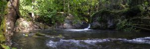 Pano of the whirlpool and falls in WFP II by SkyfireDragon