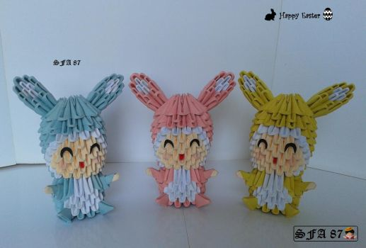 Kids with bunny suit Origami 3d by Sfa87