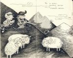 Bo's history: cheerful shepherd and sad lambs. by mirt