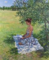 Woman Reading under an Olive Tree by marcdalessio
