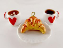 Miniature cocoa, coffee and croissant by LolitaPopShop