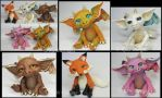Polymer Clay Dragons and Fox by KabiDesigns