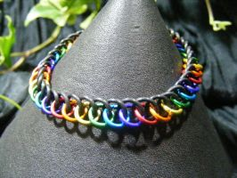 Rainbow Half Persian Stretchy Bracelet by BacktoEarthCreations
