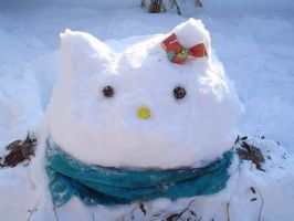 Hello Kitty SnowMan by LostInTheFalling