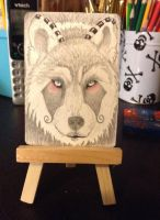 My wolf design on a atc by Serialinkest
