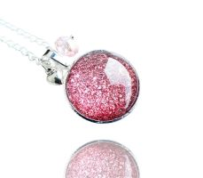 Dusty Pink Cosmic Galaxy Silver Necklace by crystaland