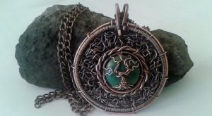 Tree of life Copper Wire Pendant with Africa Jade by TangledWorld