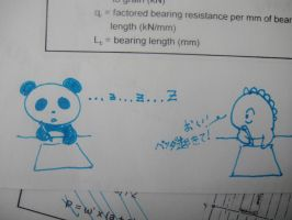 Dino and Panda at school by MelodicInterval