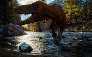 Albertosaurus crossing the river. by Frank-Lode