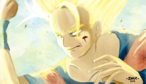 Goku against Majin. by Piteurock