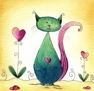 florina watercolor doodle green cat by dragonflywatercolors