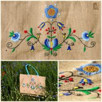 Kashubian embroidery jute bag by PsiMonkey