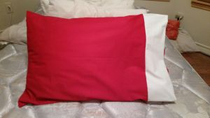 Red and White Pillowcase by CupcakeyKitten