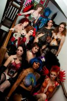 All my girls together in body paint by dragonhuntr