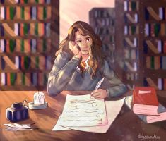 Hermione Studying by daisosunshine