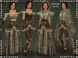Ulfhildr Fur-lined Armor set -BROWN- by Elvina-Ewing