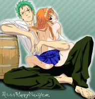 Zoro and Nami Hanging Out by misshappynewyear