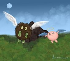 Winged Kuriboh and Petti Angel by Louisetheanimator