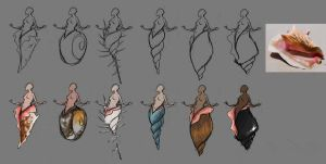 Mermaid Statues - Thumbnail sketches by worksofheart