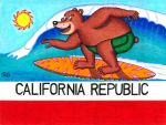 California Surfing Bear Flag by WalterRingtail