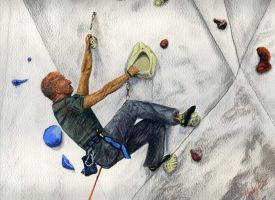 Climbing at Ratho by CragratArt