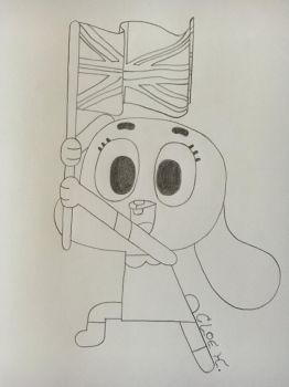 Anais waving british flag (request) by Helveticanarmy