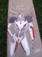 Starscream, Lord of the Sidewalk by Creativegreenbeans
