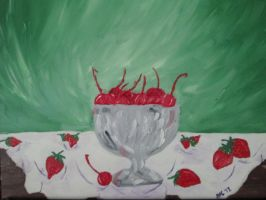 Still Life of Cherries and Strawberries by brooke1110