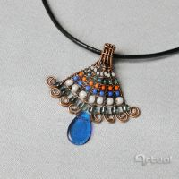 Multicolor wire wrapped pendant with beads by artual