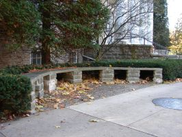 Curved Stone Bench by FantasyStock