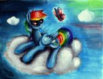 Rainbow Dash on the cloud by Julunis14