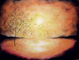 Oil pastel sketch #27: Falling Leaves In The Night by CpointSpoint