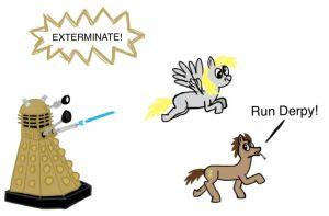 The Doctor and Derpy VS. a Dalek by Ace156212