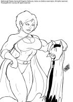 Power girl and Batboing by rsouza
