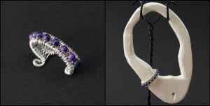 Sugilite and Sterling Ear Cuff by sylva
