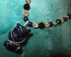 Blue Goldstone Owl Necklace Closeup 2b by Windthin