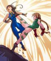 Cammy vs Chun-Li color by alexichabane