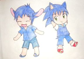stitch y sonic chibi by kary22